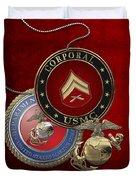 U. S.  Marines Corporal Rank Insignia Over Red Velvet Duvet Cover
