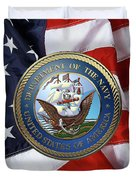 U. S.  Navy  -  U S N Emblem Over American Flag Duvet Cover