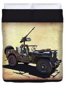 U. S.rmy Jeep With Assualt Weapons Duvet Cover