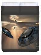 Ufos And Fighter Planes In The Skies Duvet Cover
