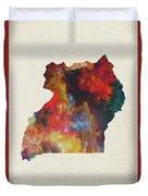 Uganda Watercolor Map Duvet Cover