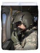 Uh-60 Black Hawk Crew Chief Looking Duvet Cover