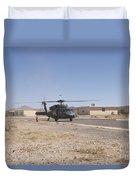 Uh-60 Black Hawk Helicopter Lands Duvet Cover