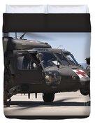 Uh-60 Black Hawk Refuels Duvet Cover