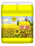 Ukrainian House With Sunflowers Duvet Cover