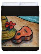 Ukulele And Hibiscus Flower On  A Hawaii Beach Duvet Cover
