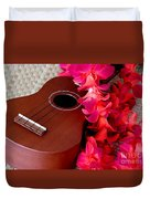Ukulele And Red Flower Lei Duvet Cover