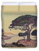 Umbrella Pines At Caroubiers Duvet Cover by Paul Signac