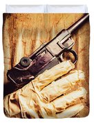 Undead Mummy  Holding Handgun Against Wooden Wall Duvet Cover