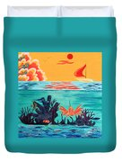 Bright Coral Reef Duvet Cover