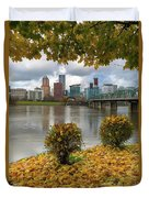Under The Maple Tree In Portland Oregon During Fall Duvet Cover