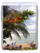 Under The Palms In Puerto Rico Duvet Cover