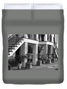 Under The Steps In Savannah - Black And White Duvet Cover