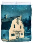 Under The Vermont Moonlight Watercolor Duvet Cover