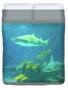 Underwater Shark Background Duvet Cover