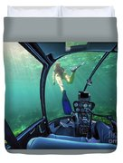 Underwater Ship In Coral Reef Duvet Cover