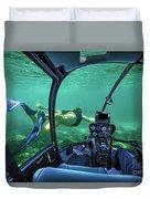 Underwater Submarine Woman Duvet Cover