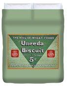 Uneeda Biscuit Vintage Sign Duvet Cover