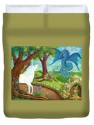 Unicorn And Dragon And Fairies And Elves - Illustration #9 In The Infinite Song Duvet Cover