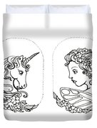 Unicorn And Fairy Cameo Set Duvet Cover
