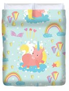 Unicorn And Rainbow Pattern Duvet Cover
