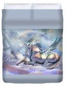 Unicorn Of Peace Card Duvet Cover