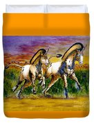 Unicorns In Sunset Duvet Cover