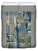 Union Station Train Yard Toronto From The Cn Tower Duvet Cover