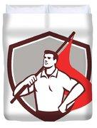 Union Worker Holding Flag Crest Retro Duvet Cover