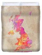 United Kingdom Map Duvet Cover