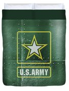 United States Army Logo On Green Steel Tank Duvet Cover