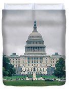 United States Capitol Building On A Foggy Day Duvet Cover