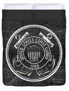 United States Coast Guard Emblem Polished Granite Duvet Cover