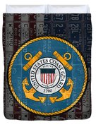 United States Coast Guard Logo Recycled Vintage License Plate Art Duvet Cover