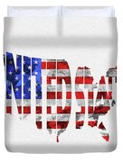 United States Typographic Map Flag Duvet Cover