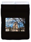 University Tower Mason Hall - Pomona College - Framed By Trees Duvet Cover