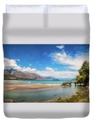 Unspoiled Alpine Scenery In Kinloch Wharf, New Zealand Duvet Cover