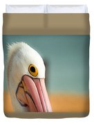 Up Close And Personal With My Pelican Friend Duvet Cover by T Brian Jones