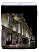 Up Lighting On A European Building At Night  Duvet Cover