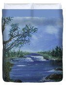Landscape With Waterfall Duvet Cover