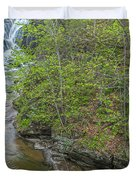 Upper And Middle Falls At Mine Kill State Park Duvet Cover