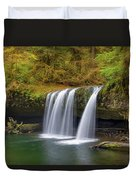 Upper Butte Creek Falls In Autumn Duvet Cover
