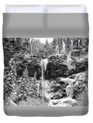 Upper Falls In Snow's Cover Duvet Cover