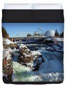Upper Falls Winter - Spokane Duvet Cover