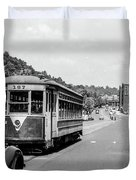 Uptown Trolley Near 193rd Street Duvet Cover