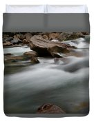 Upturned Rock In A Flowing Stream Duvet Cover