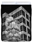 Urban Abstract - Mirrored High-rise Building In Black And White Duvet Cover