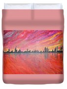 Urban Cityscapes In Twilight Duvet Cover