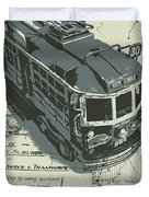 Urban Trams And Old Maps Duvet Cover