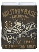 Us American Amry Jeep Duvet Cover